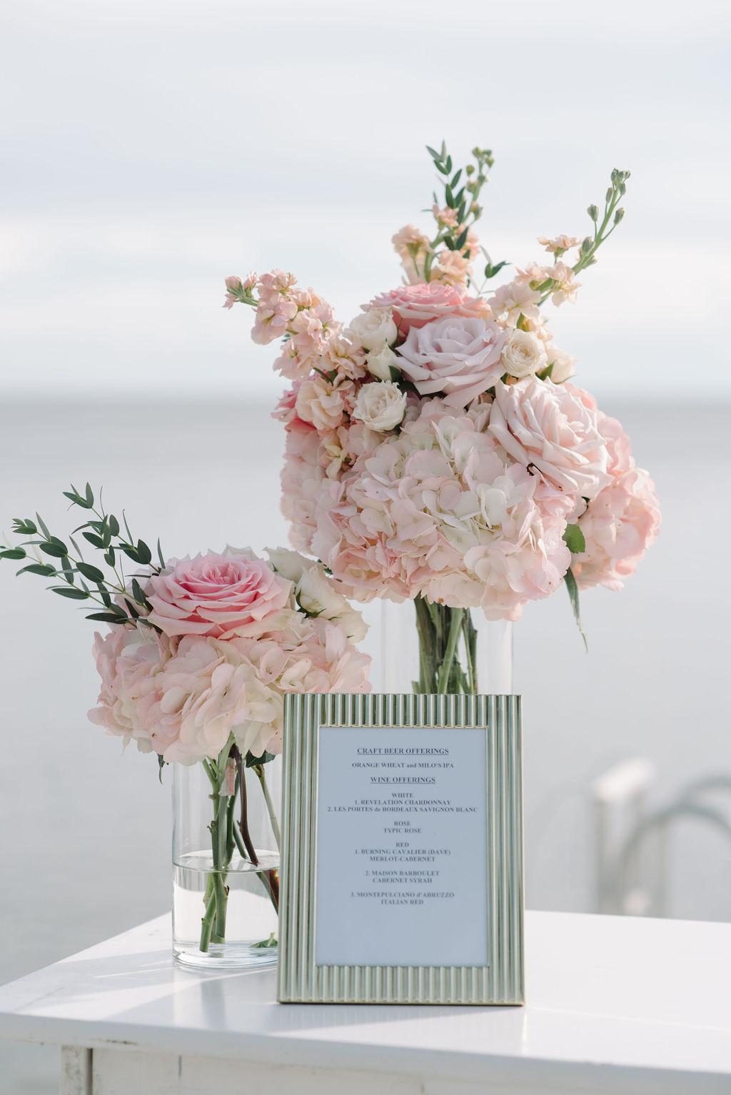 Romantic Wedding Reception Bar Decor, Blush Pink Hydrangeas, Roses and Snapdragon Floral Arrangements | Tampa Bay Wedding Florist Bruce Wayne Florals