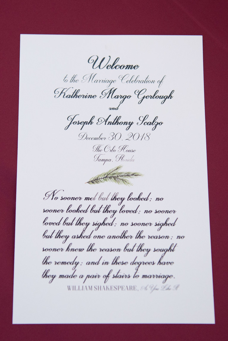Christmas Inspired Script Wedding Welcome Sign   Tampa Bay Wedding Photographer Carrie Wildes Photography