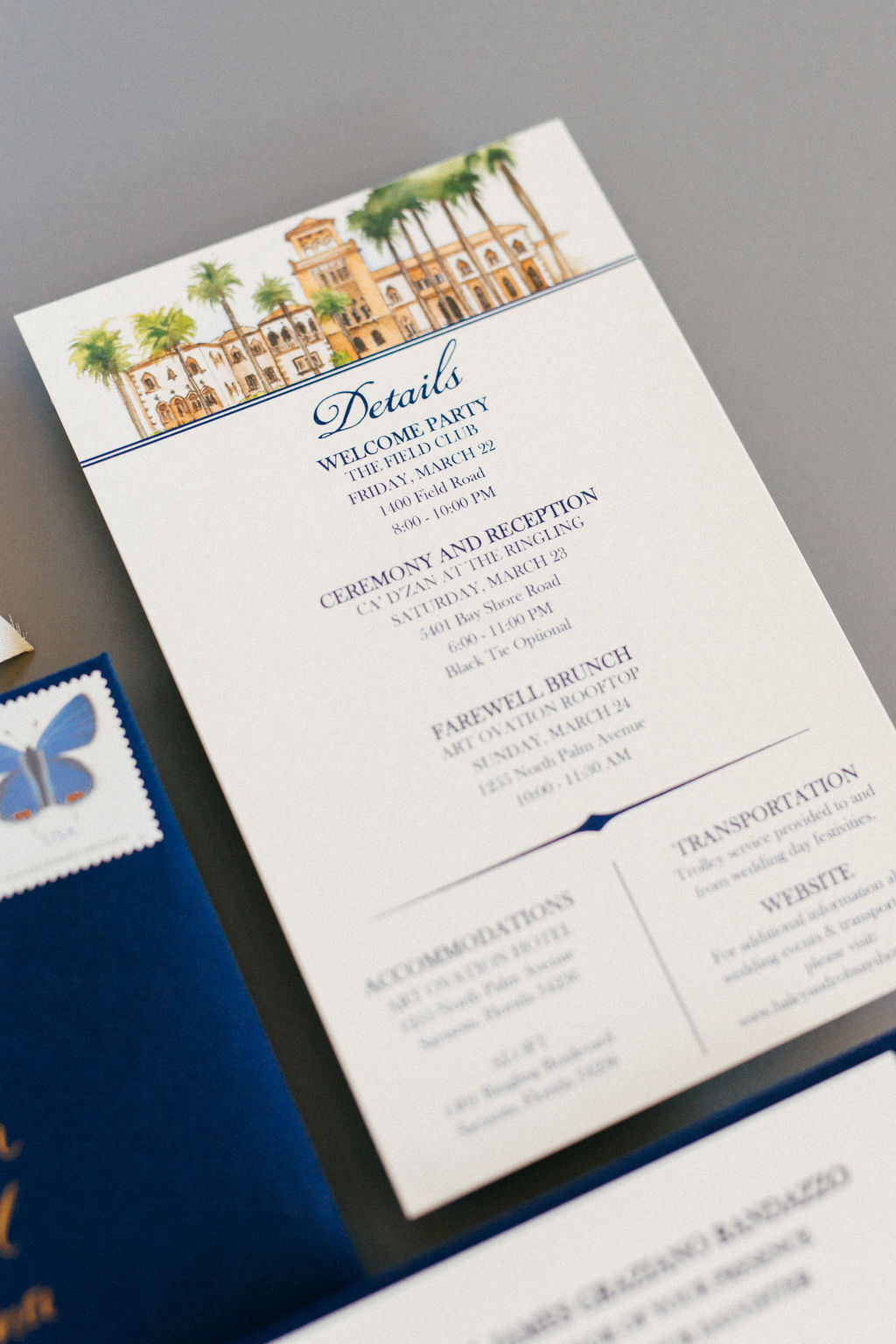 Navy Blue and White with Custom Watercolor Painting of Wedding Venue on Invitation