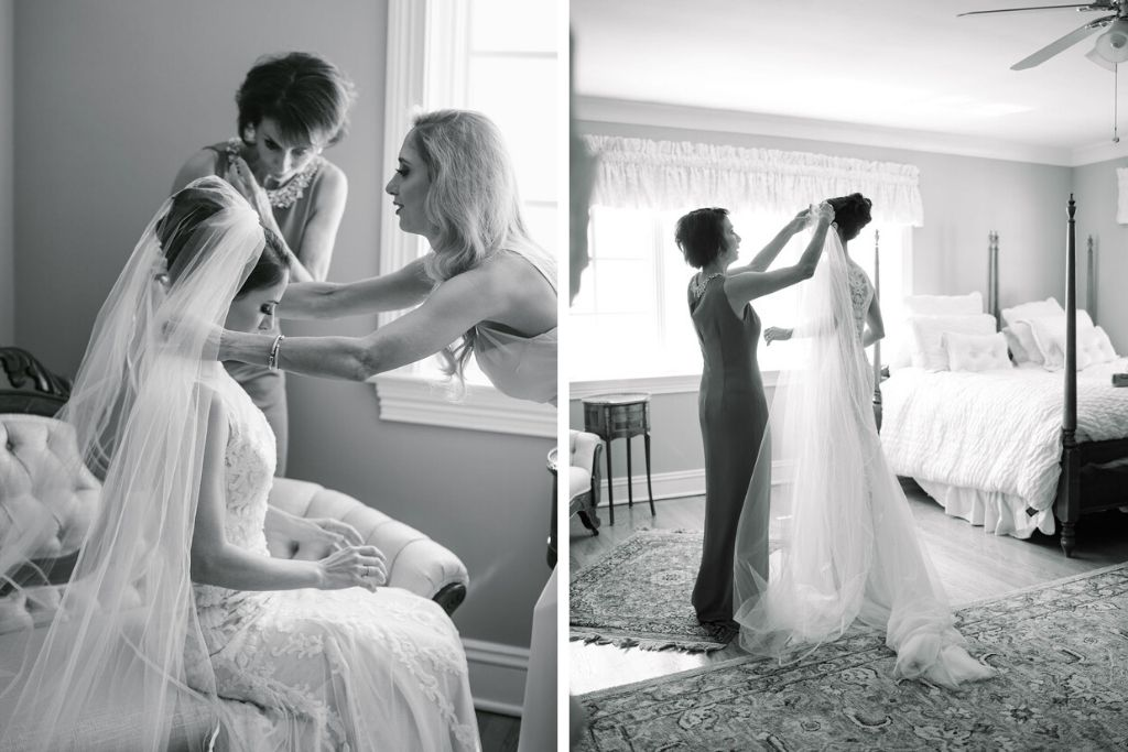 Tampa Bay Bride Getting Ready Wedding Portrait with Mother Putting on Cathedral Veil