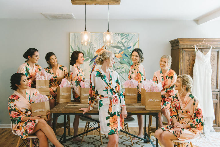 Modern Florida Bride and Bridesmaids in Pink Peach Floral Robes Getting Ready Wedding Portrait | Tampa Bay Wedding Photographer Kera Photography