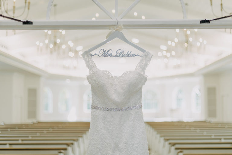 Classic Lace Sweetheart Neckline with Lace Straps Classic Ashley & Justin Wedding Dress with Rhinestone Belt on Personalized Hanger | Harborside Chapel