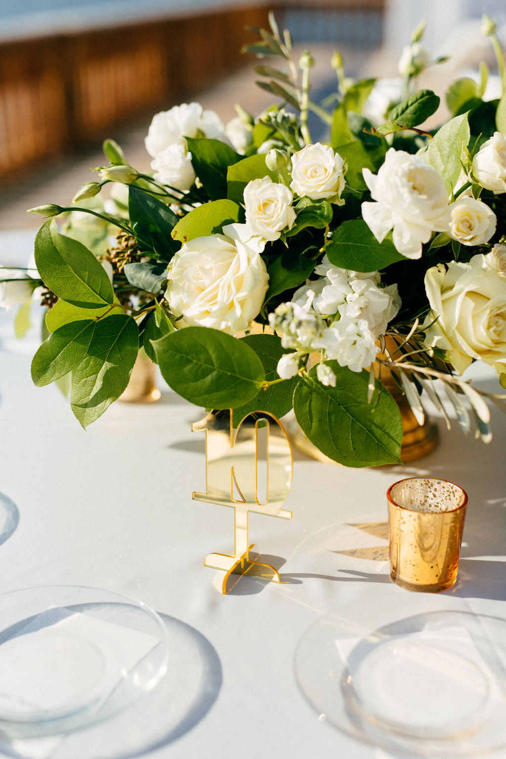 Classic Elegant Wedding Reception Decor, Low White Roses with Greenery Floral Centerpiece, Acrylic Gold Table Number, Gold Mercury Candle Votive   Tampa Bay Wedding Planner NK Productions