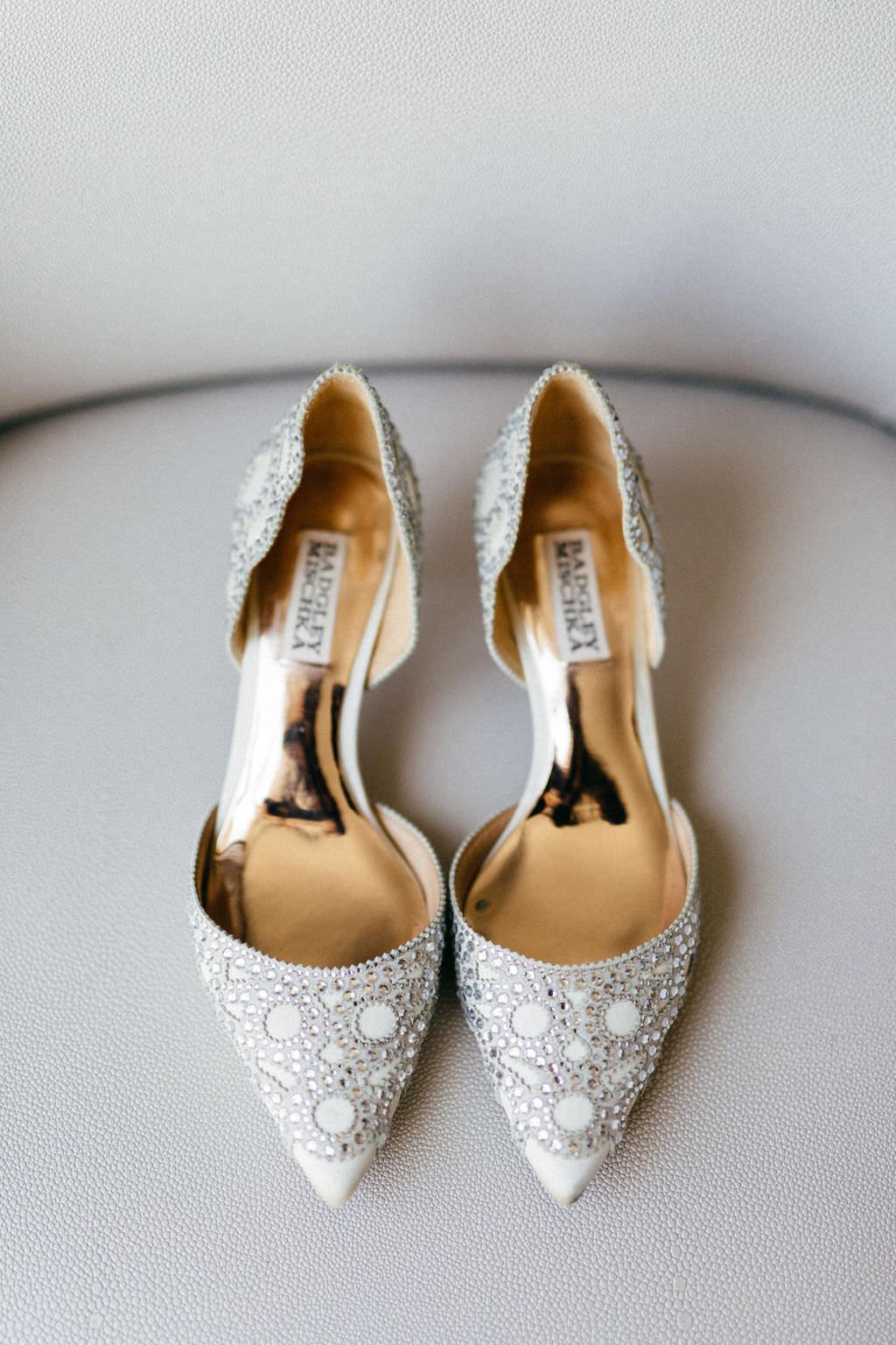 Pointed Toe Silver Rhinestone Badgley Mischka Bridal Wedding Shoes