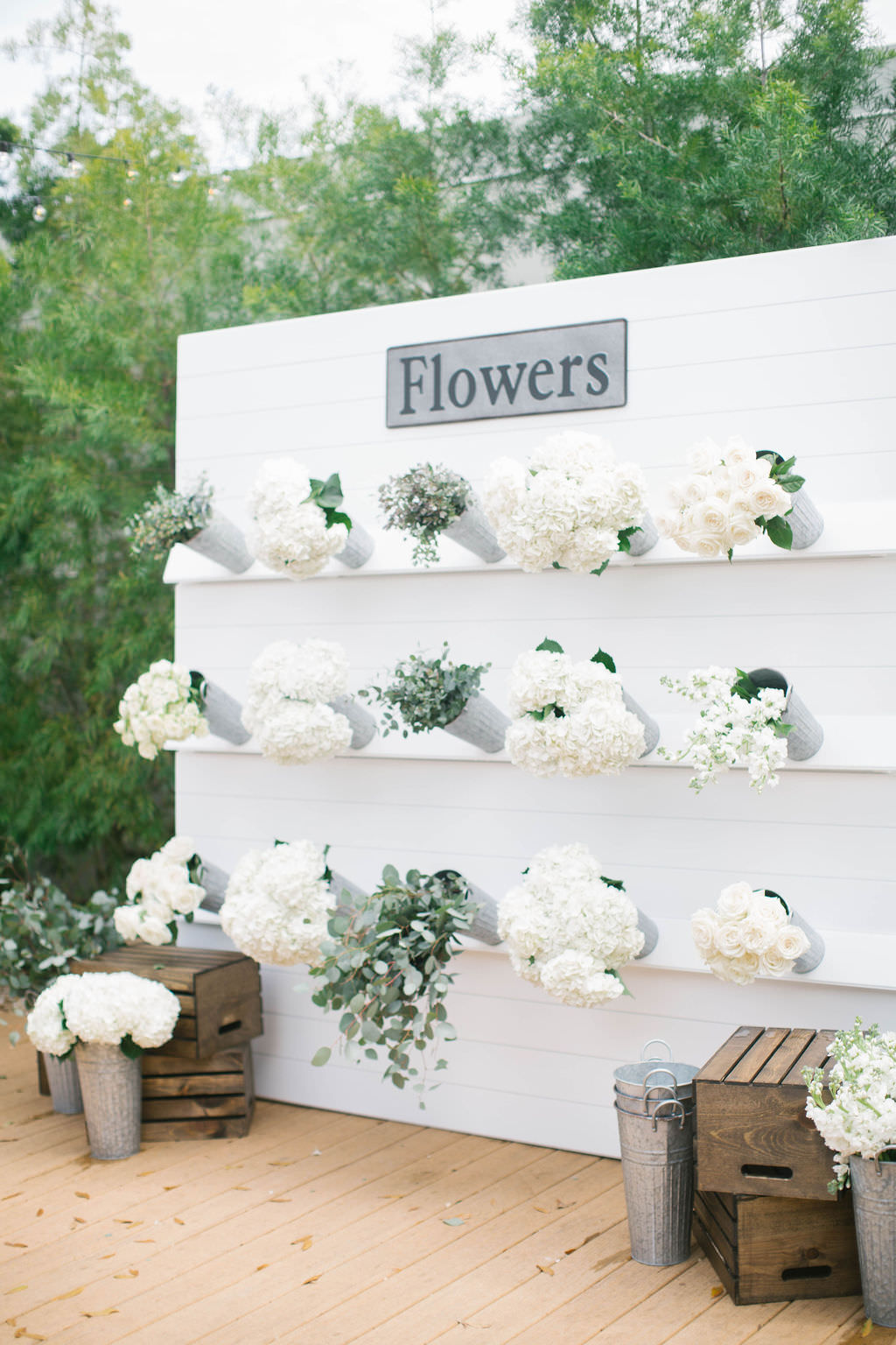 Magnolia Market Southern Inspired Tampa Bridal Shower | Joanna Gaines Inspired Bridal Shower | Create Your Own Bouquet Flower Wall with Eucalyptus and White Florals | Tampa Wedding Florist Bruce Wayne Florals | Tampa Wedding and Party Planner Parties A'La Carte