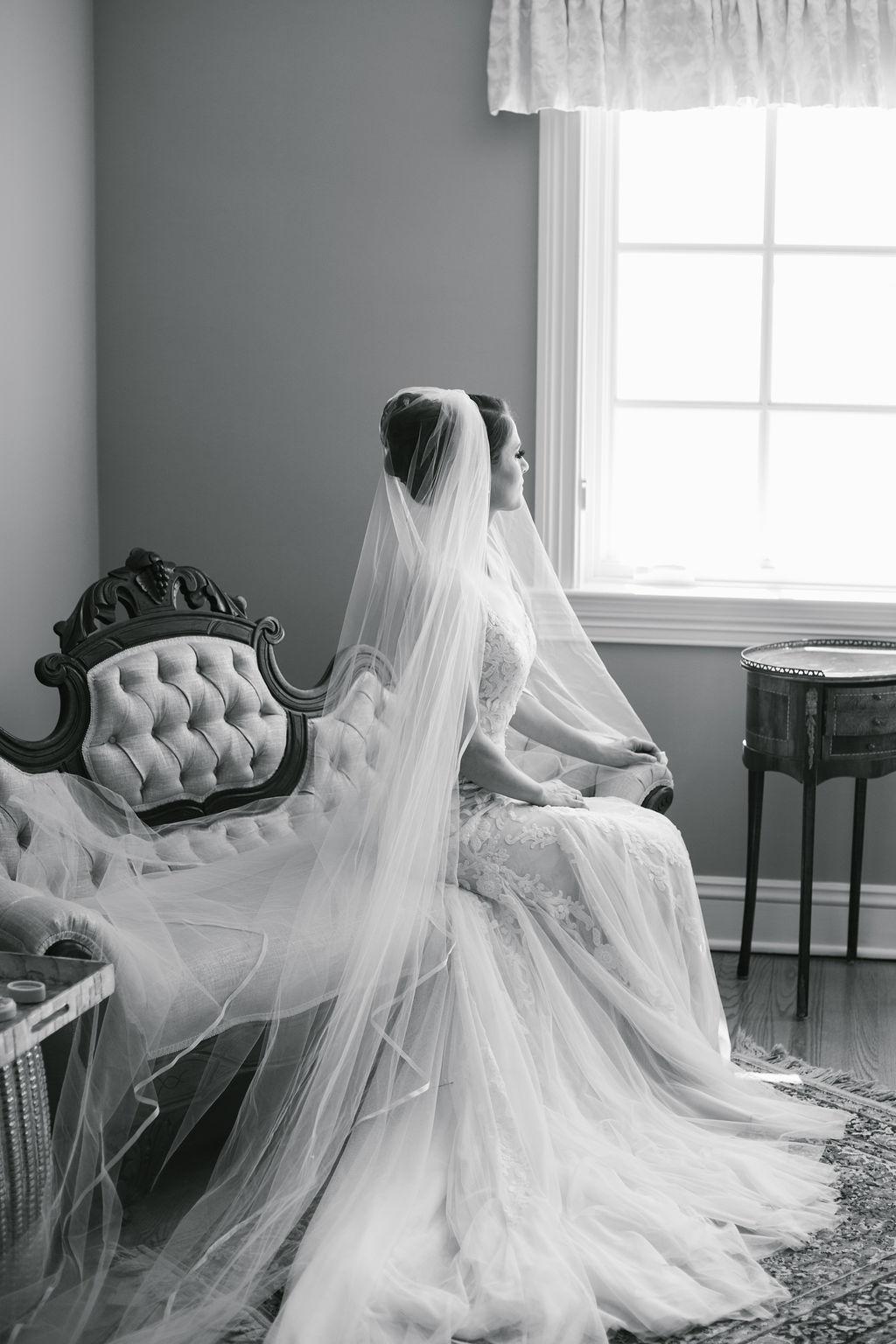 Romantic Tampa Bay Bride Beauty Wedding Portrait Wearing Full Length Veil