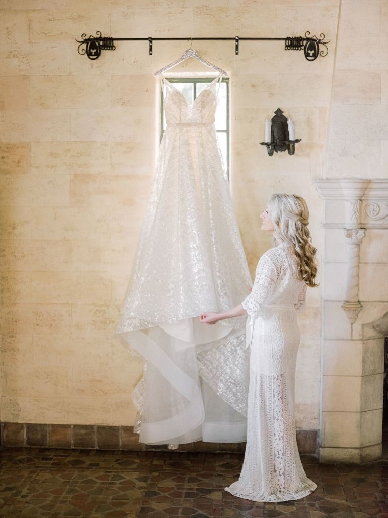 Tampa Bay Bridal Portrait with Lazaro V-Neck Ballgown Specialty Fabric Wedding Dress