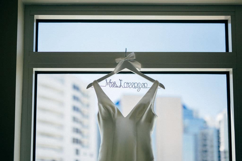 Classic V Neckline Wedding Dress on Custom Bridal Last Name Hanger