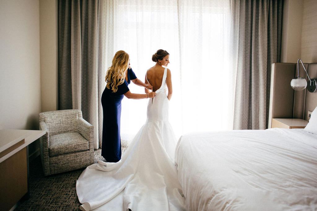 Classic Bride Getting Ready Wedding Portrait with Open Back Wedding Dress