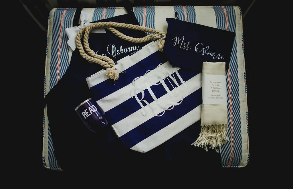 Nautical Bridal Detail Shot, Navy and White Striped Monogram Tote, Personalized Cup, Customized Makeup Bag