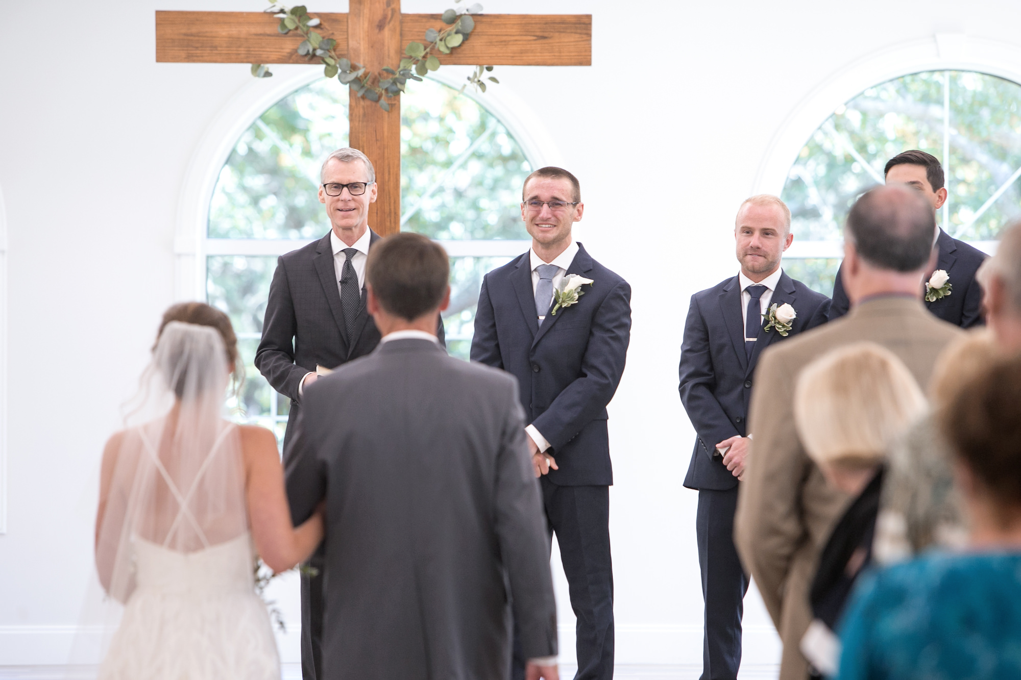 Bride and Groom Traditional Church Wedding Ceremony Processional Portrait   Tampa Bay Wedding Photographer Carrie Wildes Photography   Wedding Venue Harborside Chapel
