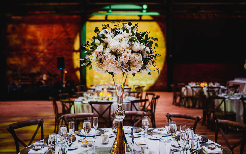 Classic, Tall Floral Centerpieces with White, Blush Pink, Navy and Ivory Flowers with Greenery, on Towering Crystal Vase | Tampa Bay Luxury Wedding Planner Coastal Coordinating