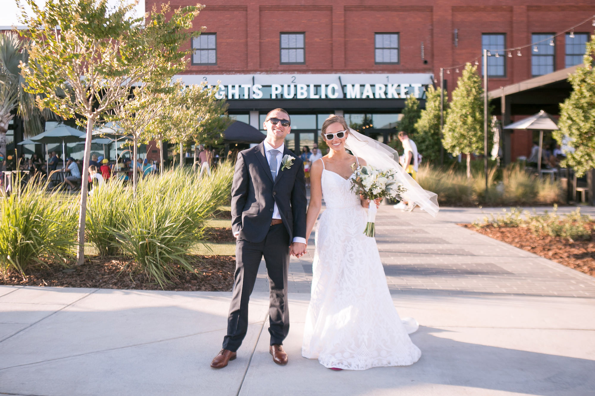 Fun Bride and Groom Portrait in Sunglasses   Tampa Bay Wedding Photographer Carrie Wildes Photography   Historic Wedding Venue Armature Works
