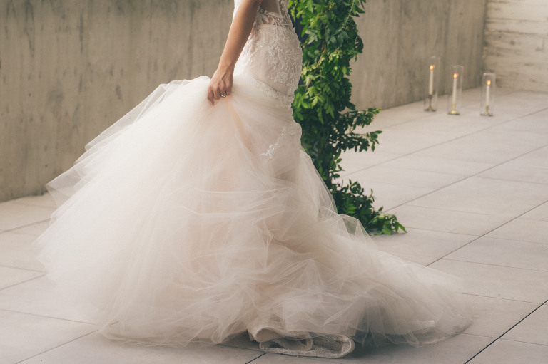 Florida Bride in Luxurious Couture Inspired Wedding Dress, White Fit and Flare Wedding Dress with Bustled Full Tulle Skirt and Lace Detailing | Tampa Bay Luxury Bridal Boutique Isabel O'Neil Bridal Collection | Hyde Park Tampa Unique Wedding Venue Hyde House