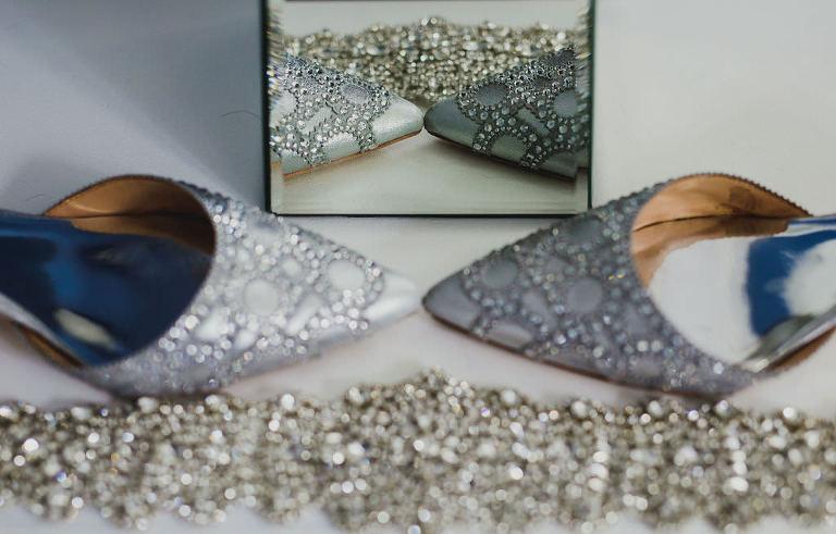 Modern Bridal Accessories Details, Rhinestone Sparkle Shoes and Garter Belt
