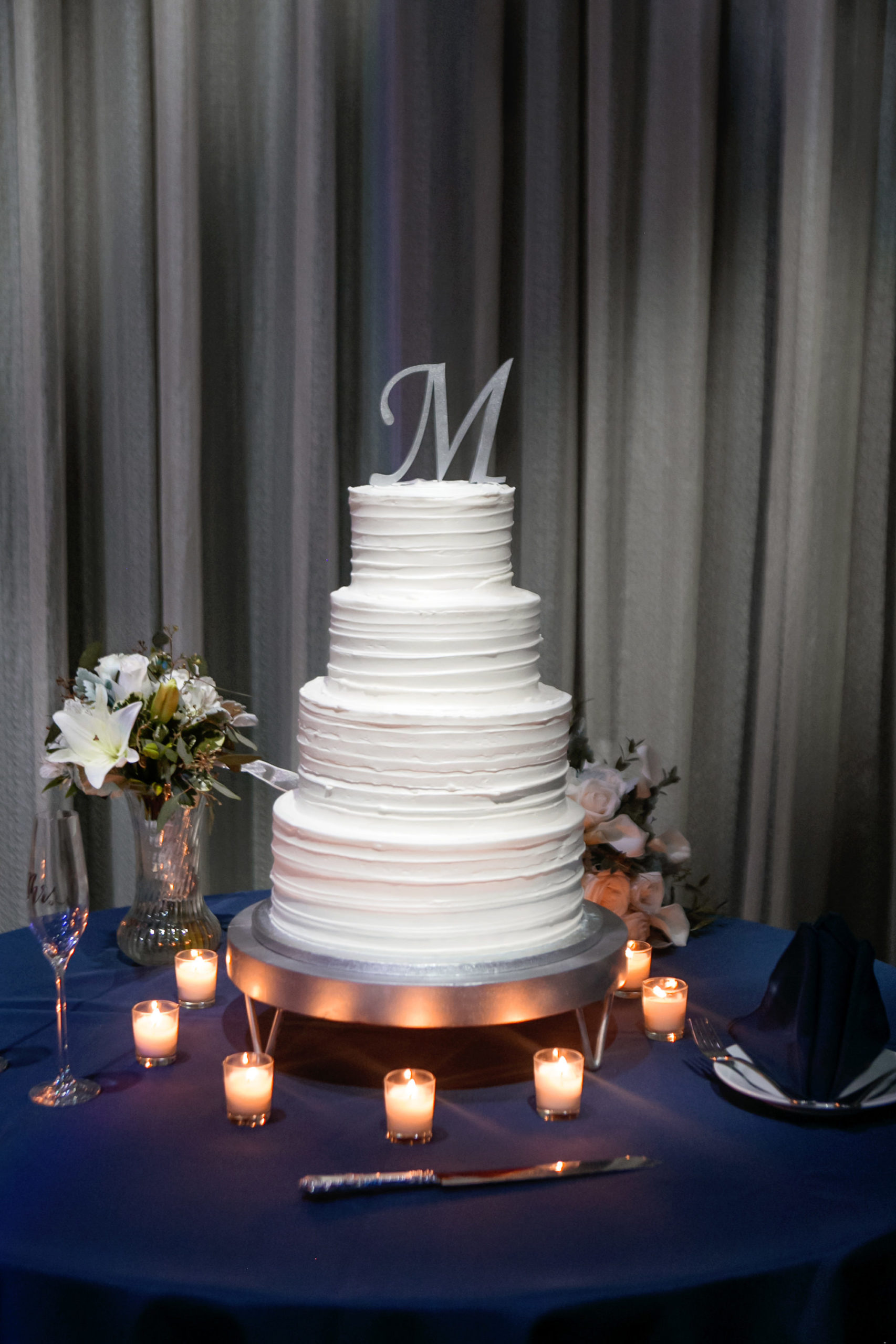 Simple Classic White Four Tier Wedding Cake with Silver Initial Cake Topper   Tampa Bay Wedding Photographer Carrie Wildes Photography   Wedding Planner Love Lee Lane