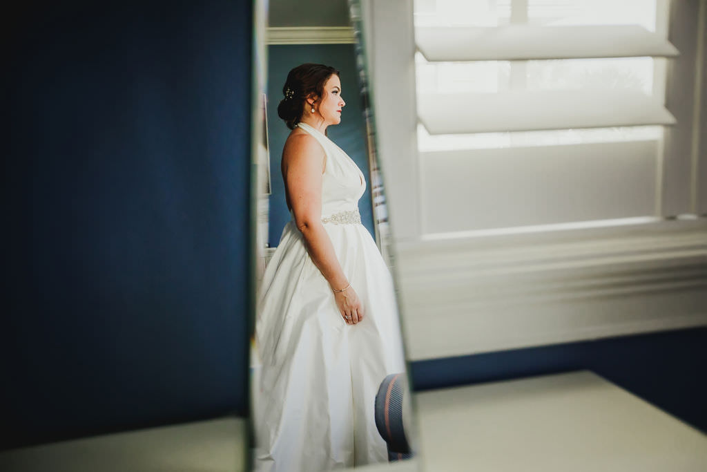 Florida Bride Getting Ready, Wearing Elegant Romona Keveza Wedding Dress, White Halter Top Style Dress