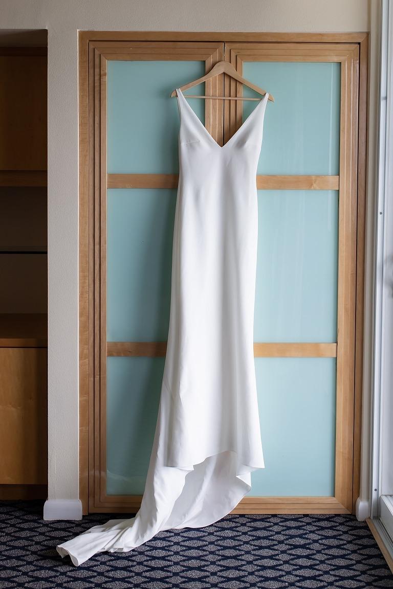 Simple Romantic White Beach Silk Silhouette Wedding Dress   Made with Love Bridal
