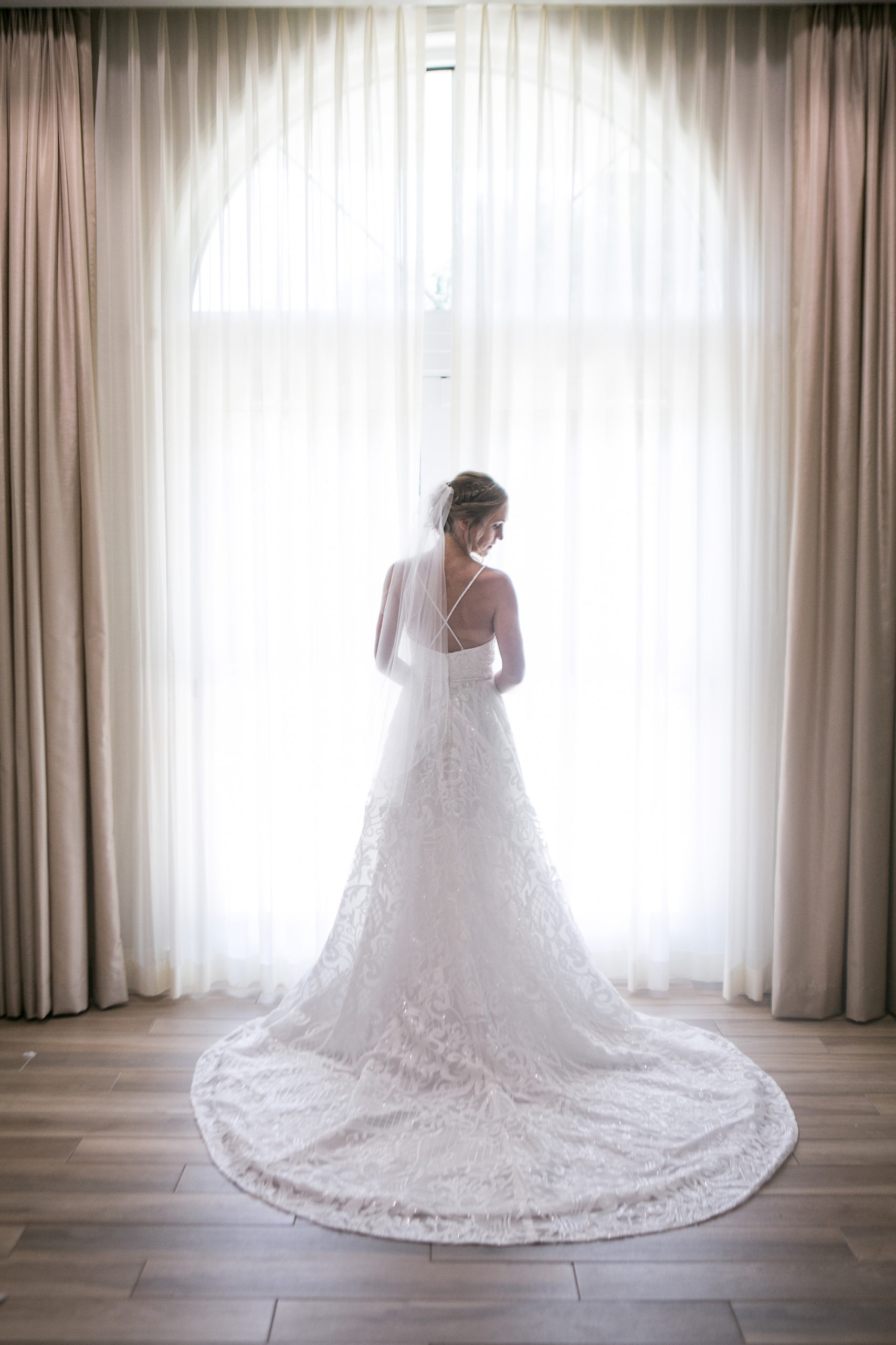 Bride Beauty Wedding Portrait in Justin & Ashley Romantic Lace with Crossback Wedding Dress   Tampa Bay Wedding Photographer Carrie Wildes Photography