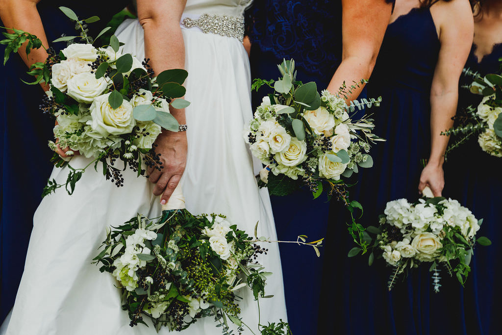 Elegant Wedding Bouquet with Ivory Roses, White Hydrangeas, Navy Floral Accents, Eucalyptus Leaves and Greenery | Tampa Bay Luxury Wedding Planner Coastal Coordinating