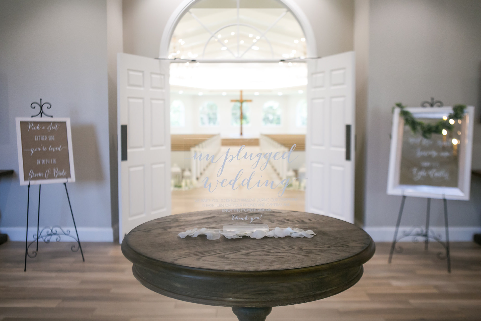 Elegant Modern Acrylic Sign with White Script Unplugged Wedding Sign   Tampa Bay Wedding Photographer Carrie Wildes Photography   Safety Harbor Traditional Church Wedding Venue Harborside Chapel