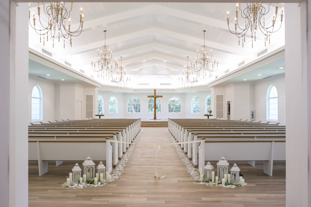 Safety Harbor Wedding Ceremony Traditional Church Venue Harborside Chapel with White Lanterns Decor | Tampa Bay Wedding Photographer Carrie Wildes Photography | Planner Love Lee Lane