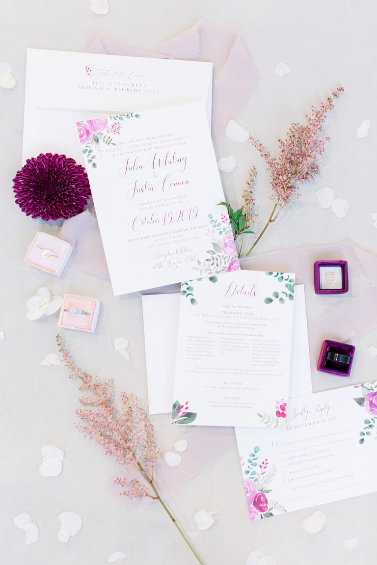 Rustic Elegant Pink Floral Wedding Invitation Suite | Tampa Bay Wedding Photographer Shauna and Jordon Photography
