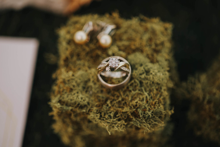 Wedding and Engagement Ring Portrait on Moss
