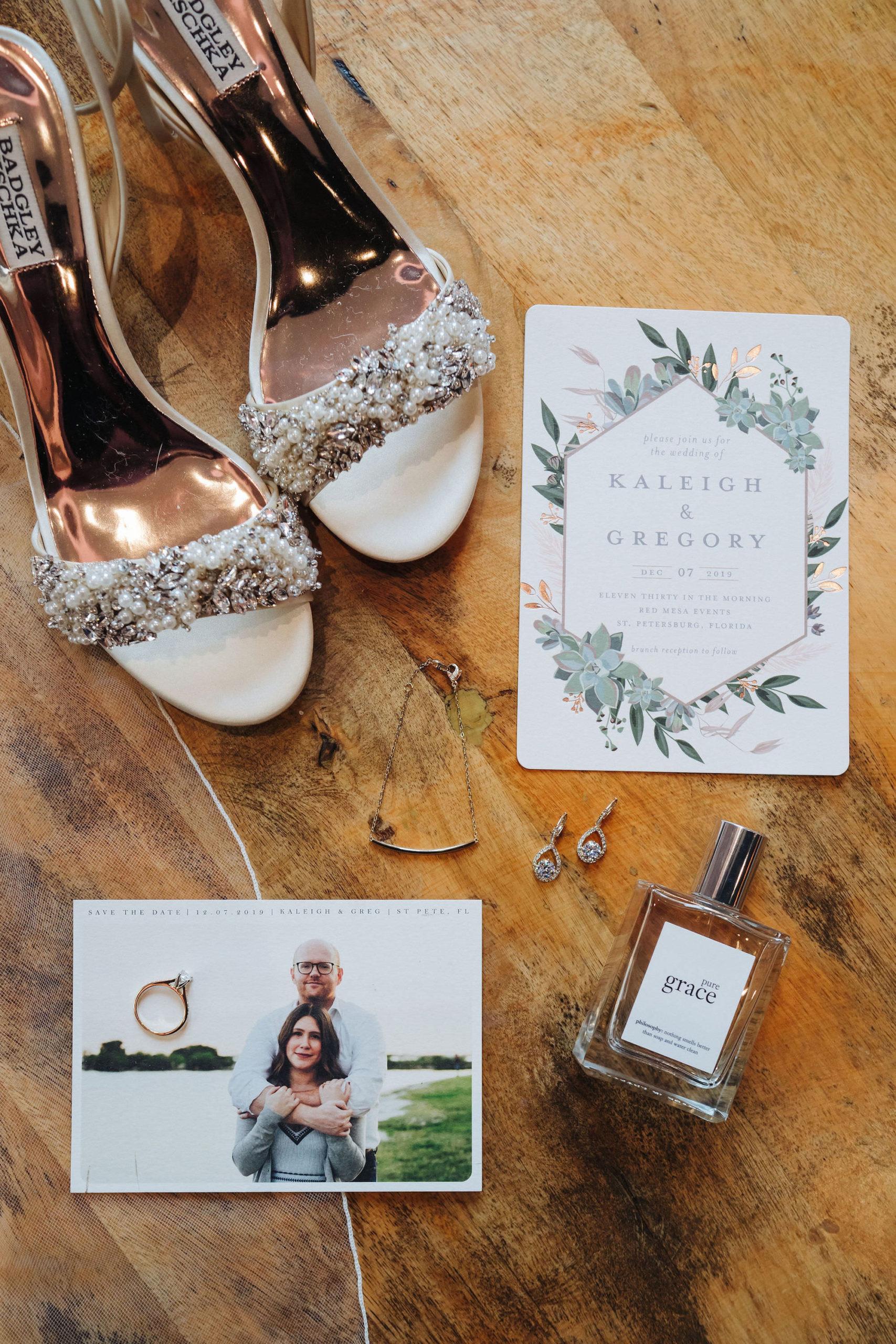 St. Petersburg Florida Wedding   Boho Invitation Suite Greenery Gold   Badgley Mischka Bride Shoes