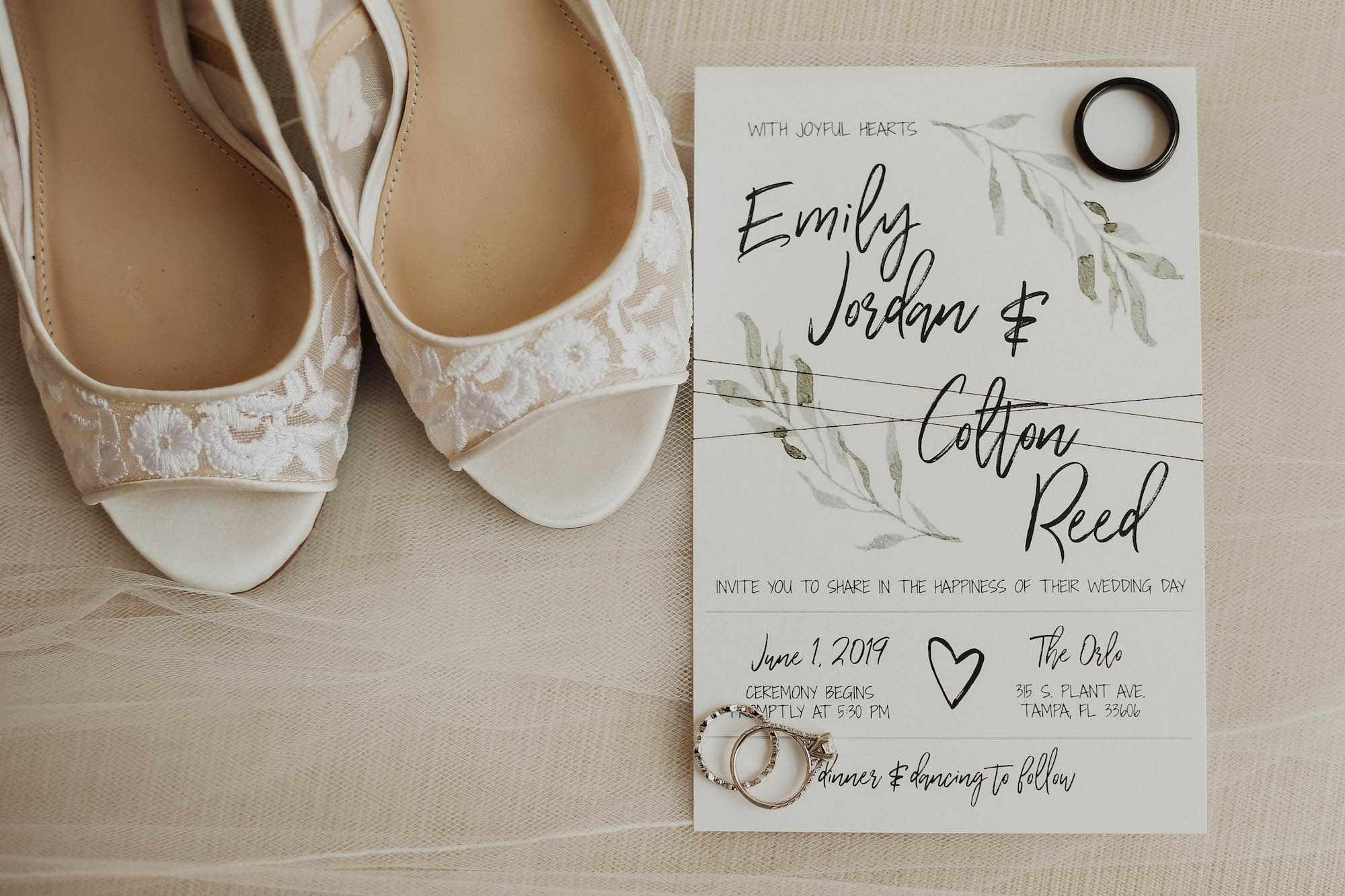 Simple White and Black Font with Greenery Watercolor Save the Date, Ivory Floral Illusion Peep Toe Wedding Shoes