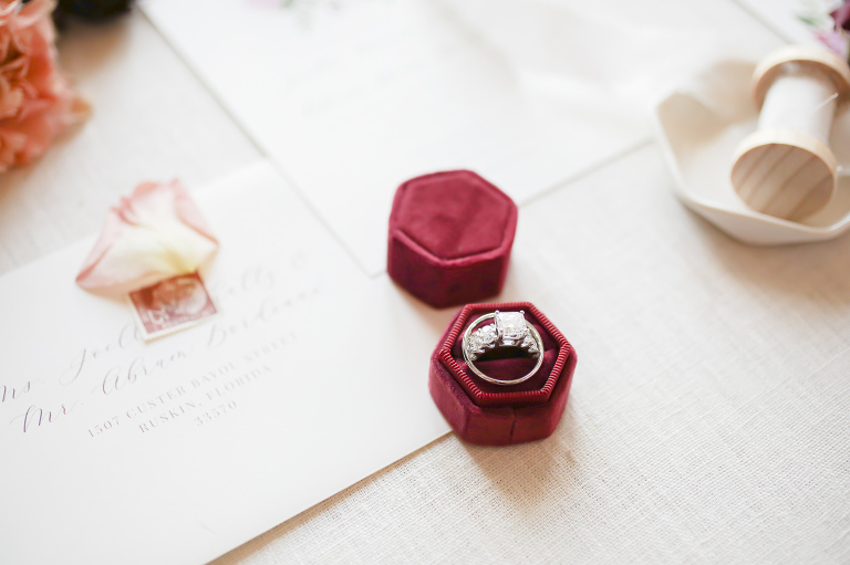 Wine Red Hexagonal Velvet Ring Box with Cushion Cut Diamond Engagement Ring | Wedding Photographer Lifelong Photography Studios | Tampa Bay Wedding Planner Blue Skies Weddings and Events