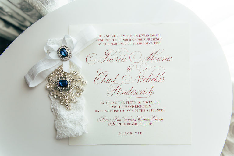Classic Elegant White and Red Script Wedding Invitation, White Lace with Rhinestone and Blue Gems Bridal Garter | Tampa Bay Wedding Stationery URBANcoast