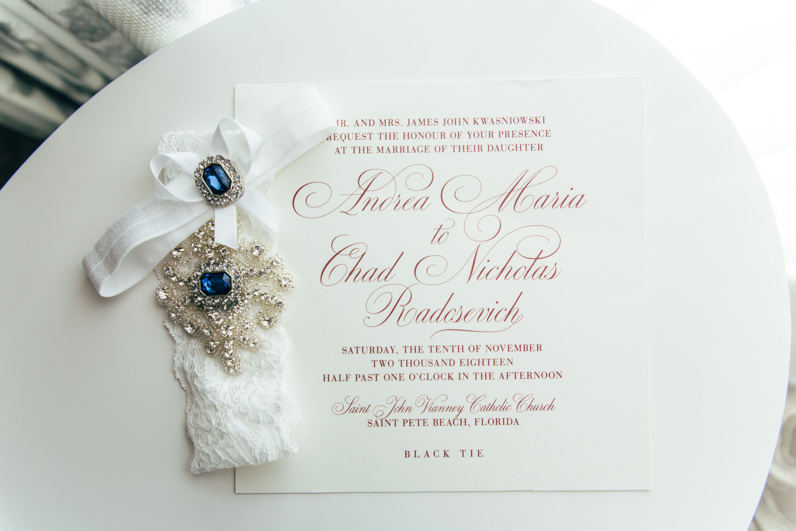 Classic Elegant White and Red Script Wedding Invitation, White Lace with Rhinestone and Blue Gems Bridal Garter   Tampa Bay Wedding Stationery URBANcoast