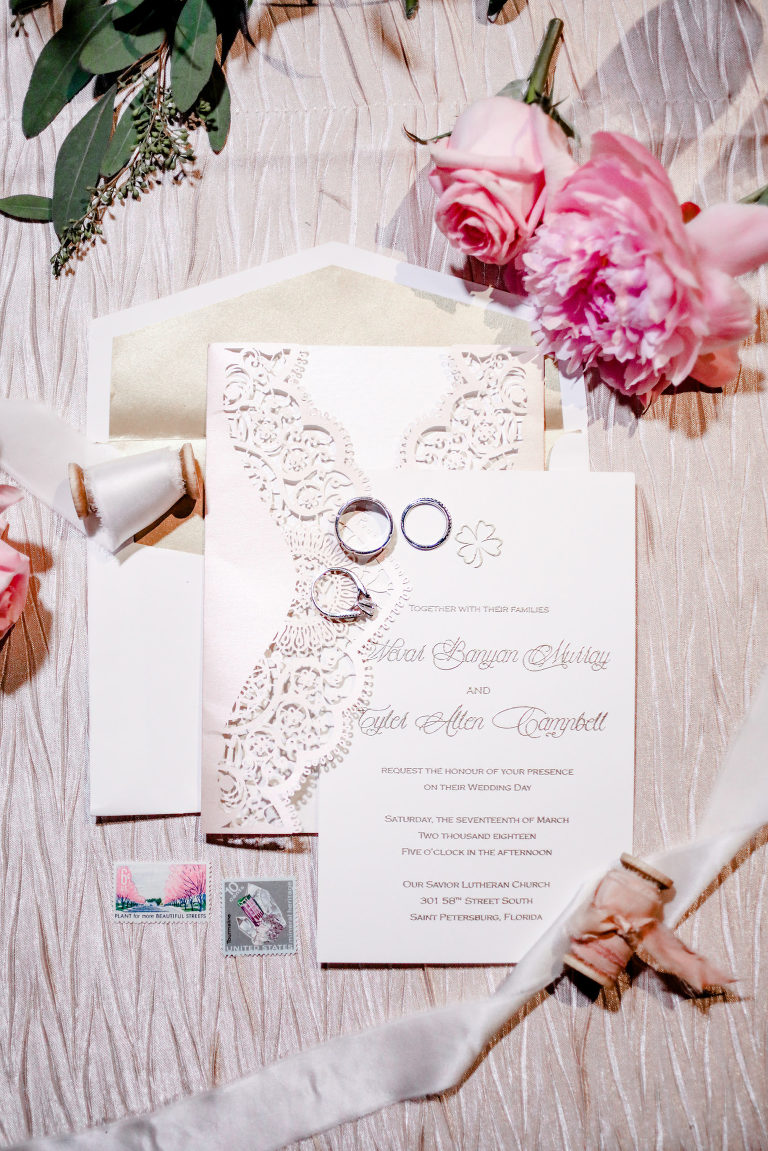 Elegant Wedding Invitation and Details, Vintage Inspired Dusty Rose Blush Pink Accents | Tampa Bay Wedding Photographer Lifelong Photography Studio