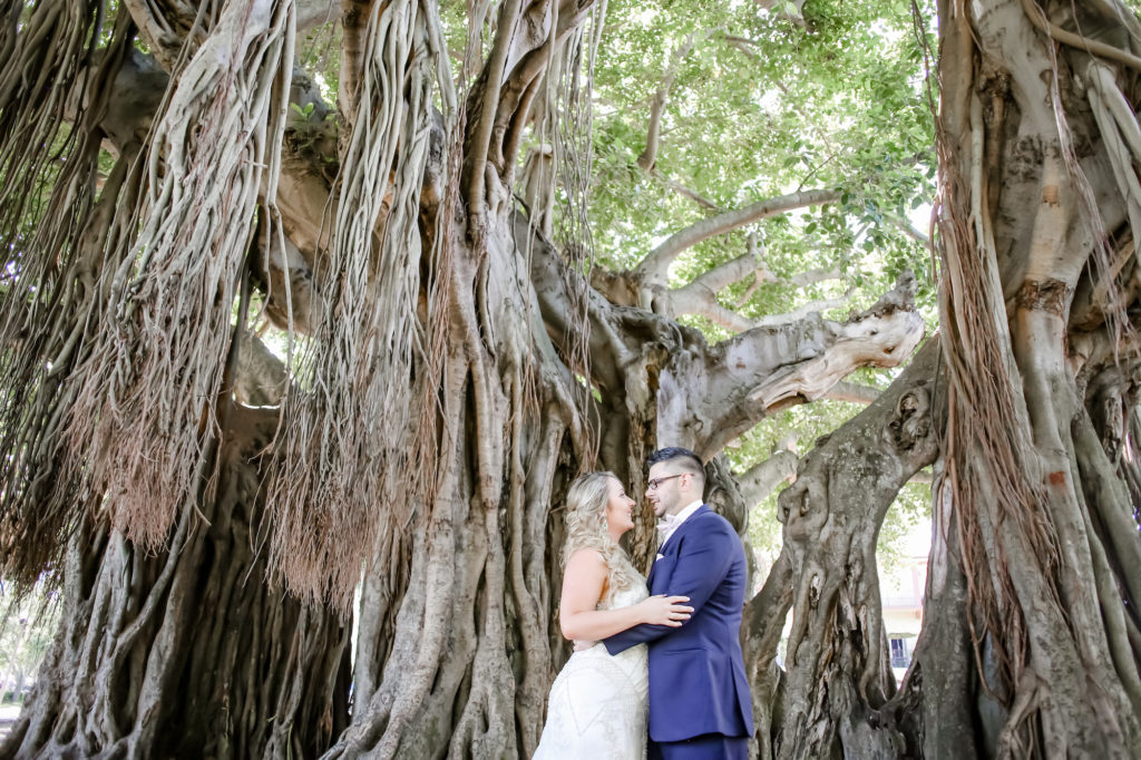 Florida Bride and Groom Wedding Portrait Under Towering Banyan Trees in Straub Park in Downtown St. Pete | Florida Wedding Photographer Lifelong Photography Studios