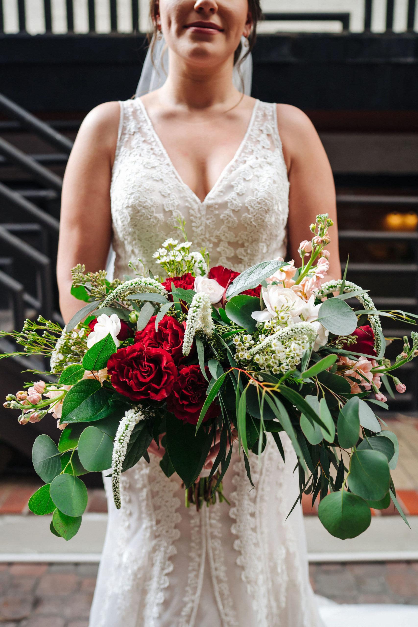 Lace V Neck Bridal Gown   Blush Red Garnet Greenery Boho Natural Bridal Bouquet   St. Pete Wedding