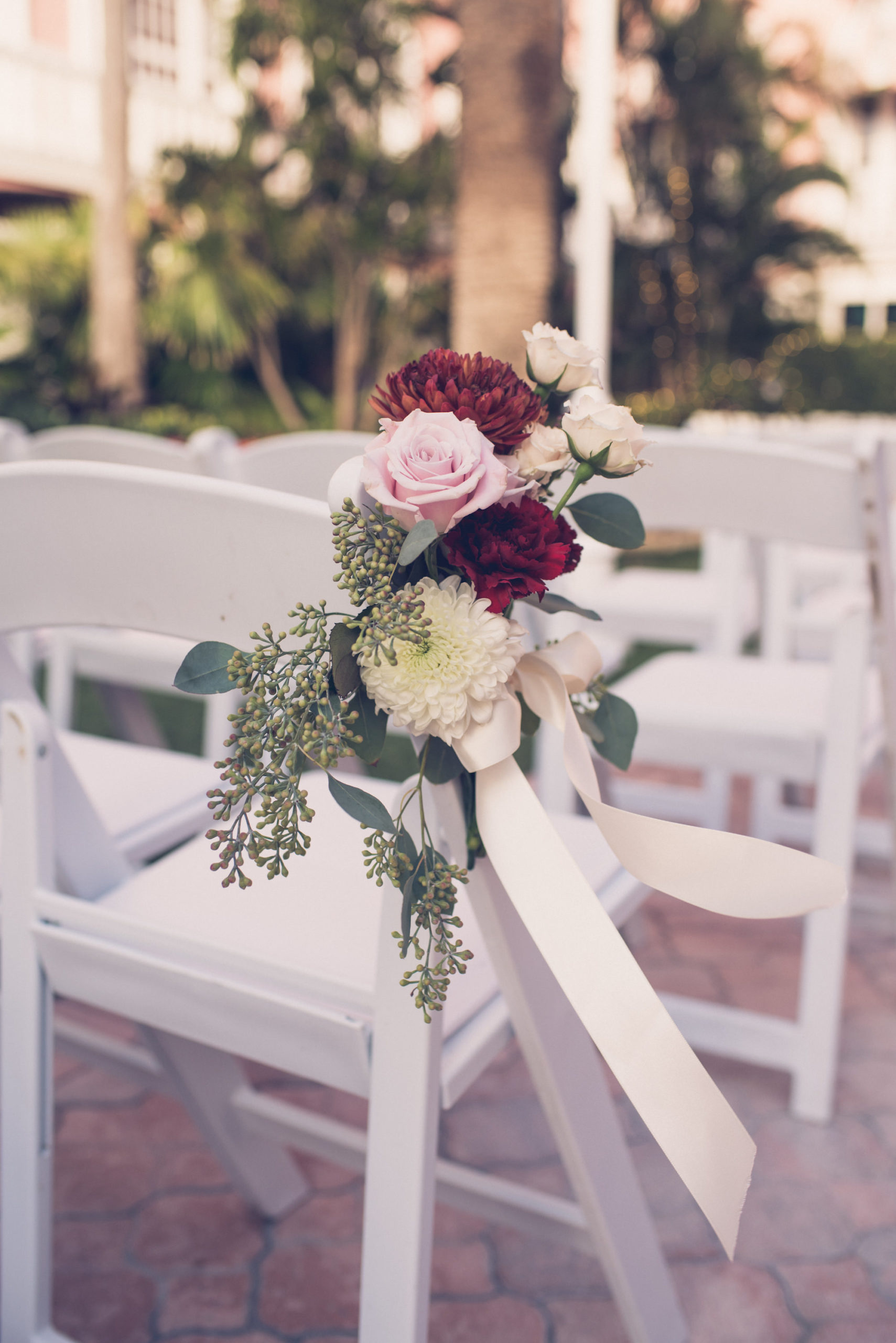 Simple Classic Wedding Ceremony Chair Decor, Blush Pink Roses, Ivory and Burgundy Flowers with Eucalyptus Leaves Arrangements | Wedding Photographer Luxe Light Images
