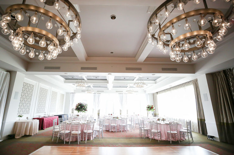 Ballroom Romantic Wedding Reception Decor, Round Tables with Blush Pink Linens, Silver Chiavari Chairs | Wedding Photographer Lifelong Photography Studios | Tampa Bay Wedding Planner Blue Skies Weddings and Events | St. Petersburg Hotel Wedding Venue The Birchwood | Over the Top Linen Rentals