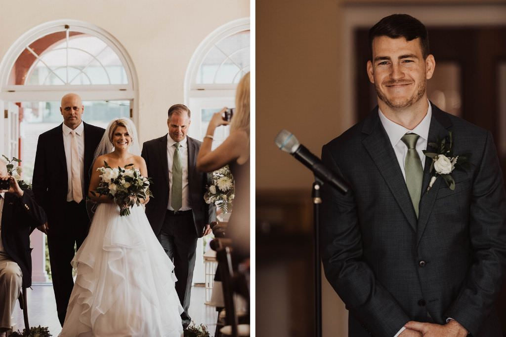 Classic Happy Tampa Bay Bride Processional Walking Down the Wedding Ceremony Aisle Holding Garden Inspired White Roses and Greenery Eucalyptus Floral Bouquet, Groom's Happy Reaction to Seeing Bride in Sage Green Tie and White Rose Boutonniere