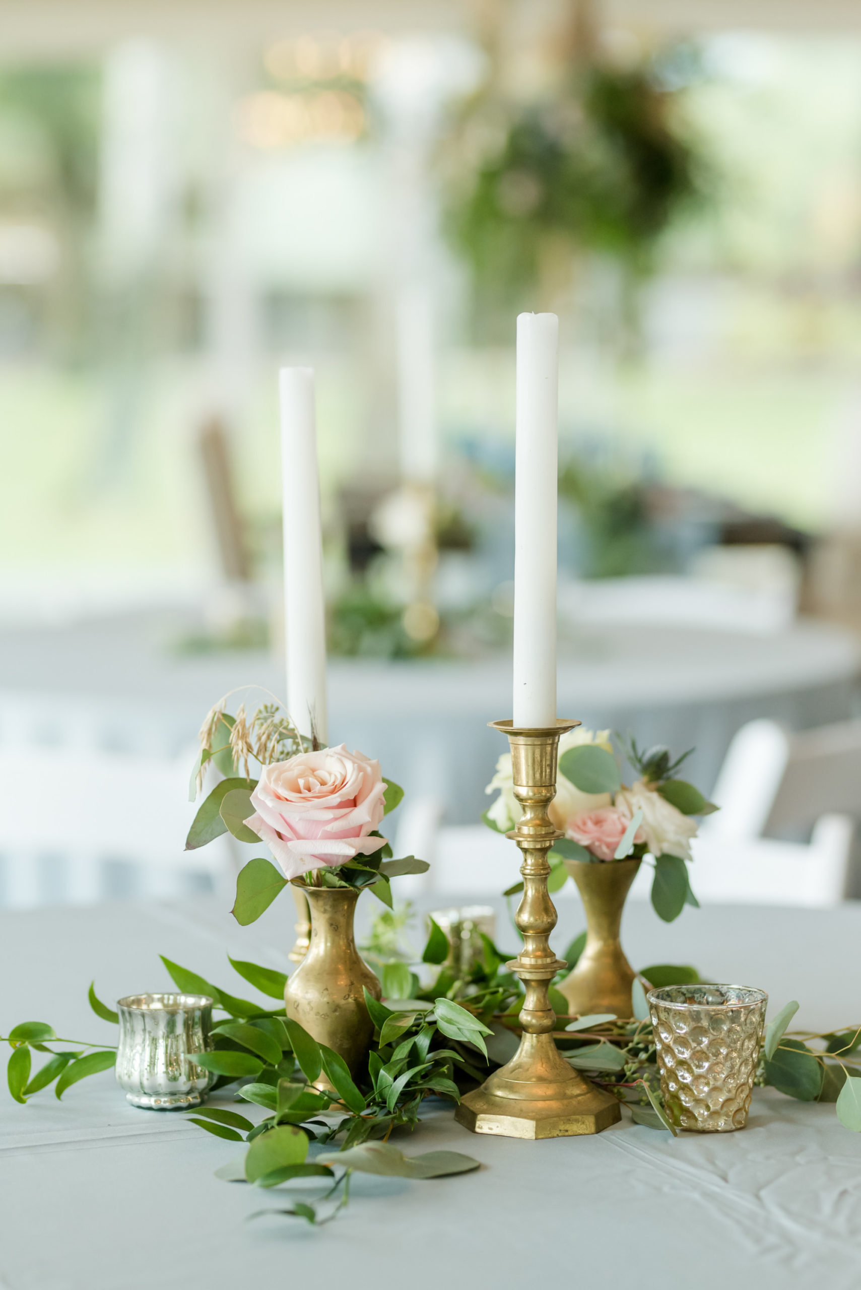 Dusty Rose Styled Wedding Shoot, Gold Antique Candlesticks, Low Gold Flower Vases with Blush Pink Roses, Greenery Leaf Centerpiece   Tampa Bay Wedding Planner Elegant Affairs by Design