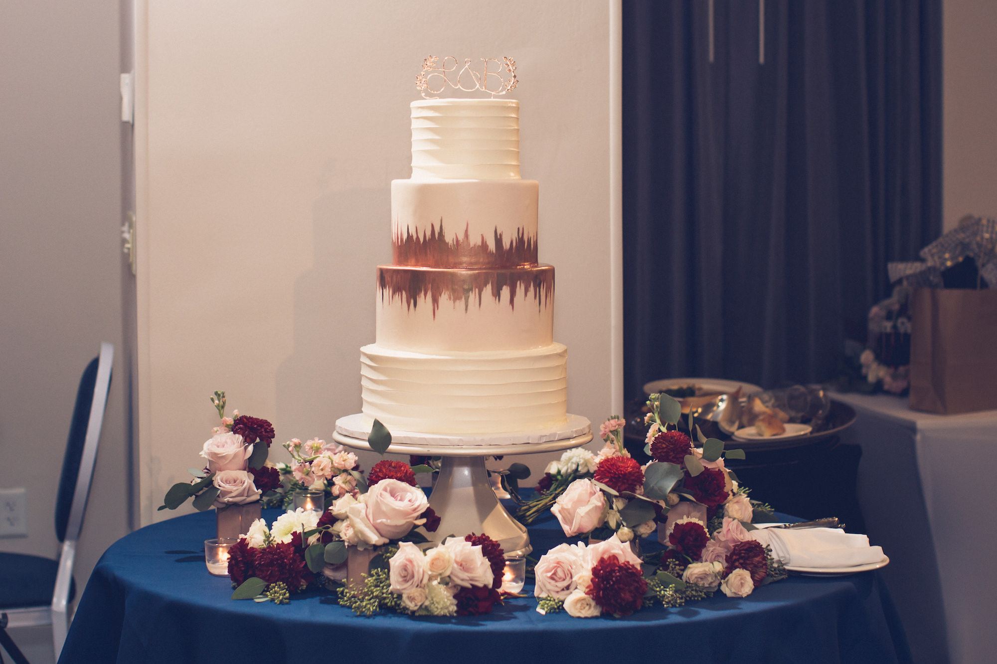 Classic Elegant Four Tier White with Painted Rose Gold Accent and Custom Cake Topper, Blush Pink Roses, Burgundy Flowers and Greenery Floral Arrangements | Wedding Photographer Luxe Light Images | Tampa Bay Wedding Cake The Artistic Whisk