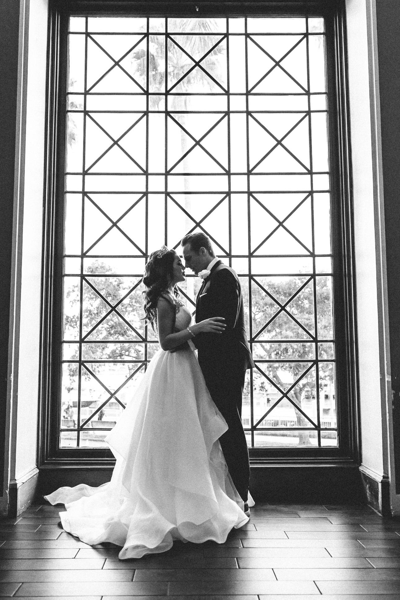 Romantic Black and White Bride and Groom Wedding Portrait   Tropical, Florida Resort Waterfront Wedding Venue   The Vinoy Renaissance St. Petersburg Resort & Golf Club