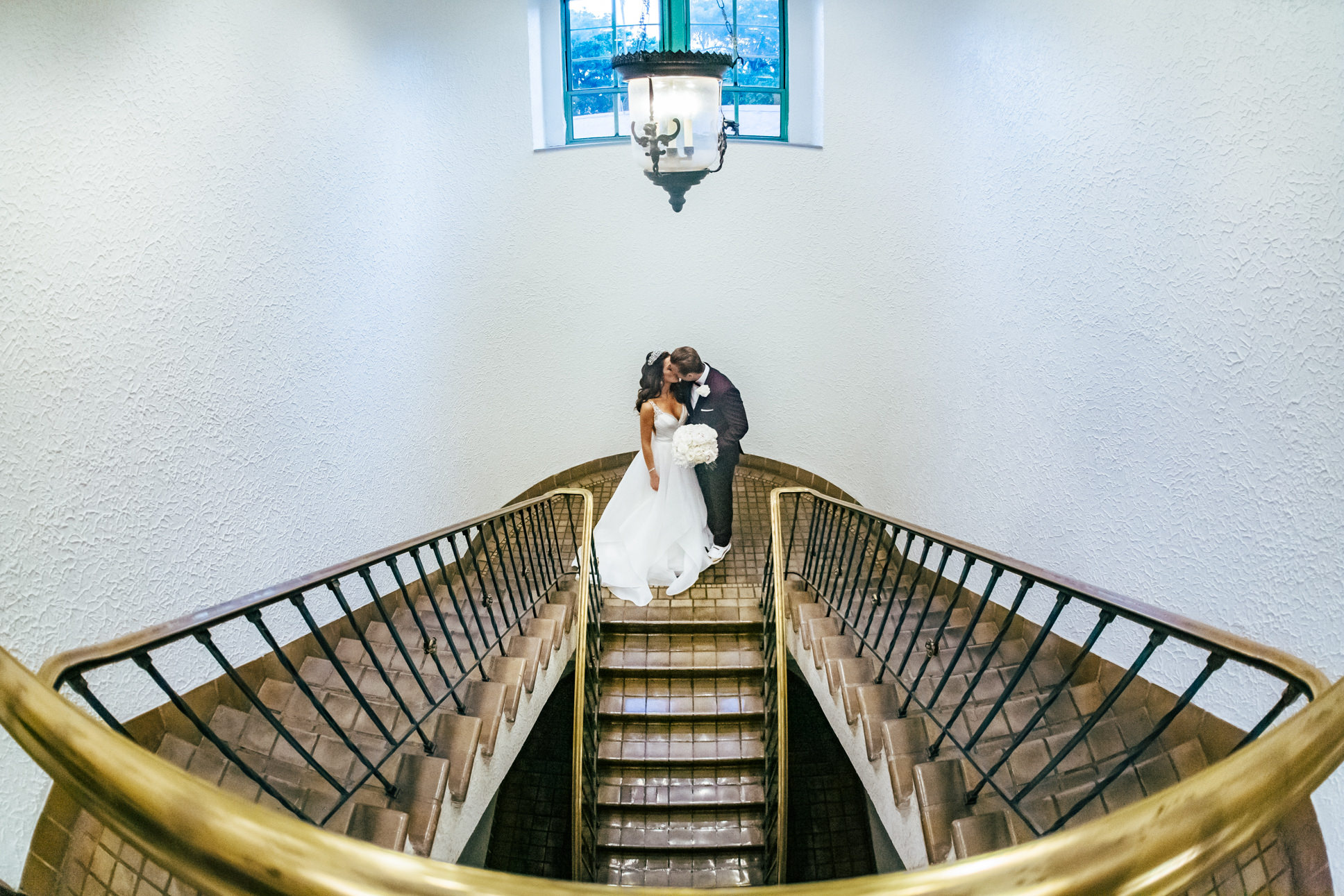 Romantic Bride and Groom Wedding Portrait on Staircase   St. Petersburg Waterfront Hotel Vinoy Renaissance Resort and Golf Club