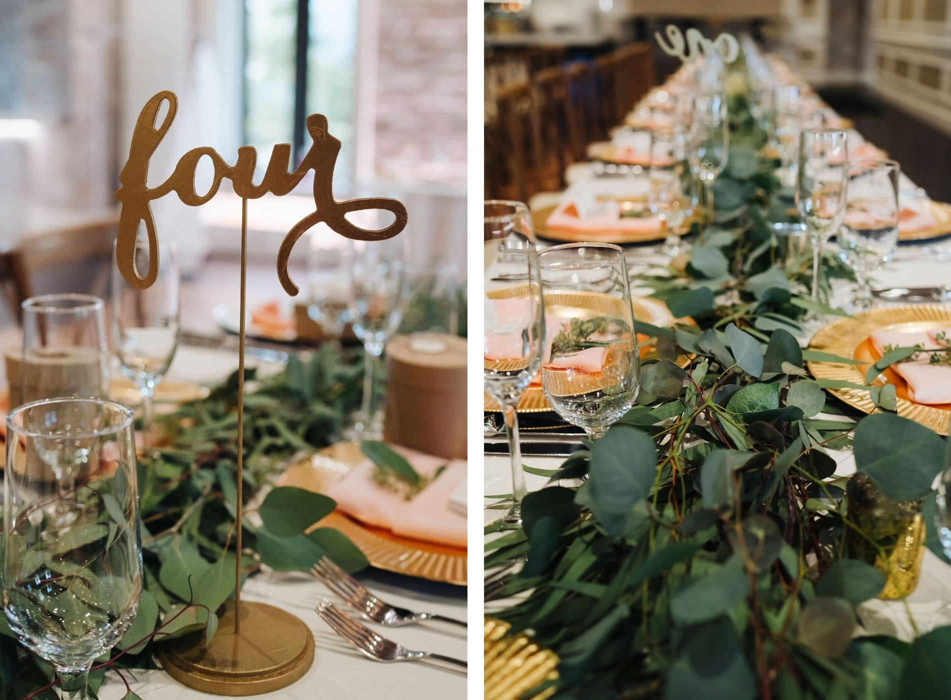 St. Petersburg Florida Wedding Venue   Red Mesa Events   Reception Long Banquet Feasting Tables   Wood Cross Back French Country Chairs   Greenery Garland Centerpiece with Gold Chargers and Blush Napkins   Gold Calligraphy Table Numbers