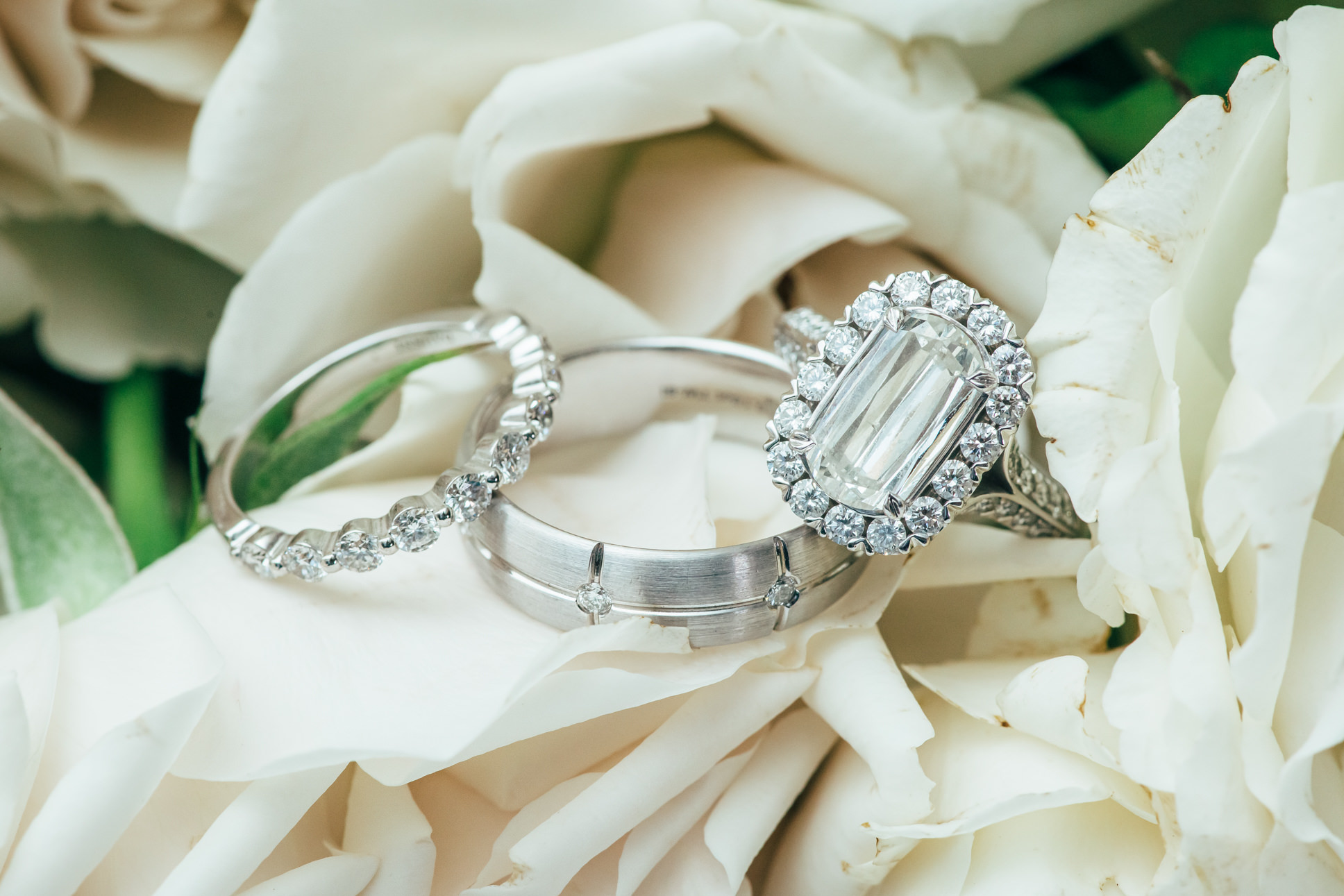 Cushion Cut Halo Diamond Engagement Ring and Bride and Groom Wedding Bands