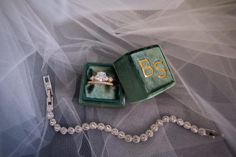 Round Diamond Engagement Ring and Bride Wedding Band in Velvet Gold Monogram Green Ring Box, Diamond Tennis Bracelet