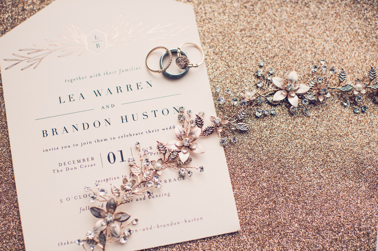 Elegant Rose Gold Foil Wedding Invitation, Wedding Rings and Engagement Ring, Rhinestone, Pearl and Rose Gold Beaded Bride Headband | Wedding Photographer Luxe Light Images