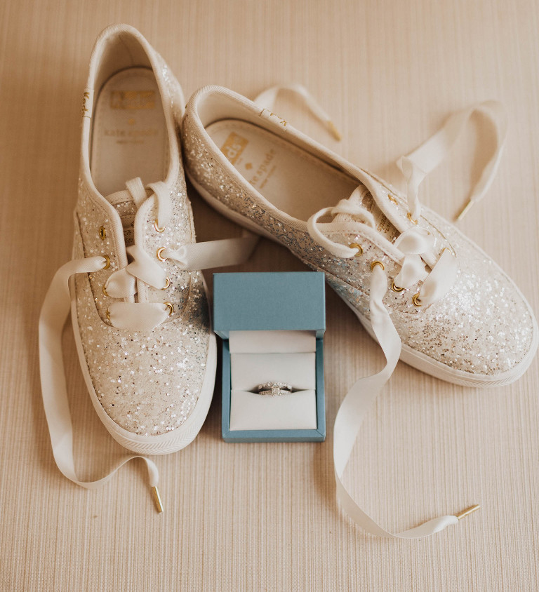 Kate Spade Ivory Glitter Sneaker Wedding Shoes, Engagement Ring in Dusty Blue Ring Box