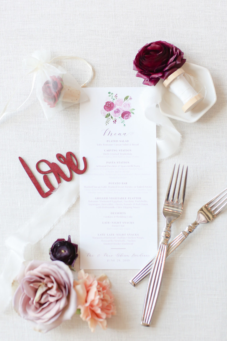 White and Dusty Rose, Wine Watercolor Roses Wedding Menu | Wedding Photographer Lifelong Photography Studios | Tampa Bay Wedding Planner Blue Skies Weddings and Events