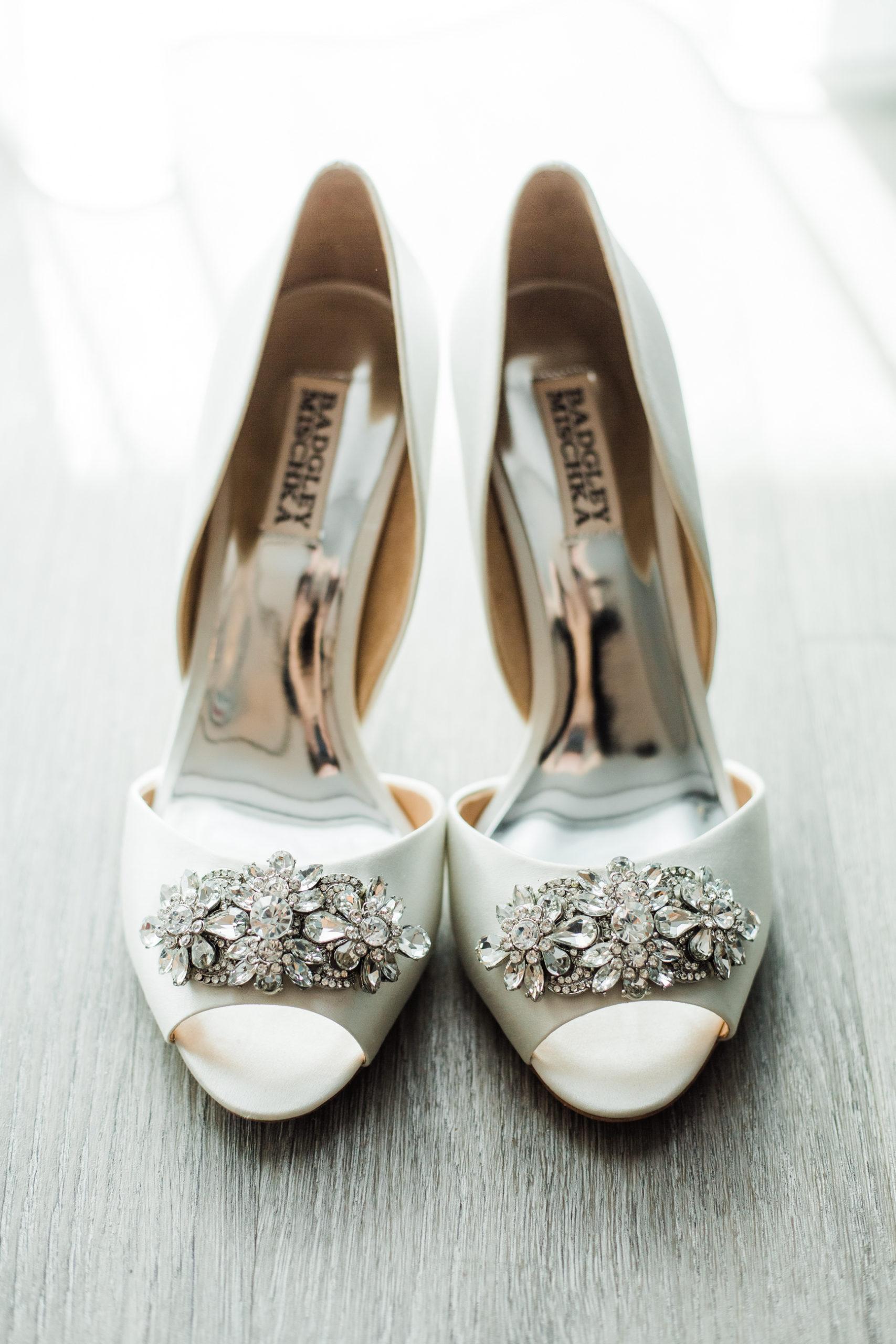 Badgley Mischka Ivory Peep Toe Heels with Rhinestone Brooch Wedding Shoes